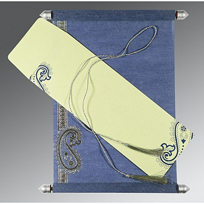 BLUE WOOLY FOIL STAMPED WEDDING CARD : SC-5015A - 123WeddingCards