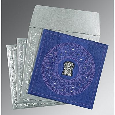 Blue Wooly Screen Printed Wedding Card : SO-8214Q - 123WeddingCards