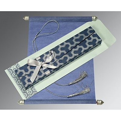 Blue Wooly Wedding Card : SC-5014D - 123WeddingCards