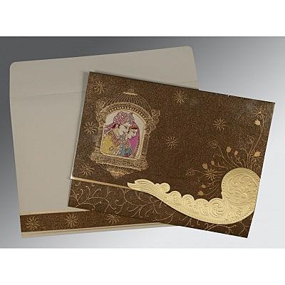 Brown Handmade Shimmer Embossed Wedding Card : IN-1405 - 123WeddingCards