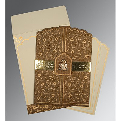 Brown Handmade Shimmer Floral Themed - Embossed Wedding Invitation : G-1422 - 123WeddingCards