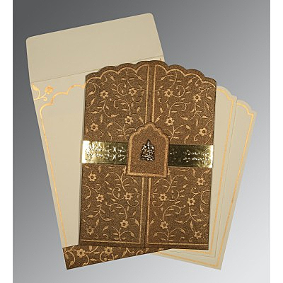 Brown Handmade Shimmer Floral Themed - Embossed Wedding Invitation : IN-1422 - 123WeddingCards