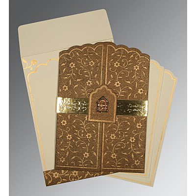 Brown Handmade Shimmer Floral Themed - Embossed Wedding Invitations : S-1422 - 123WeddingCards