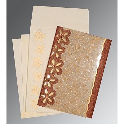 Brown Handmade Shimmer Floral Themed - Screen Printed Wedding Invitations : C-1439 - 123WeddingCards
