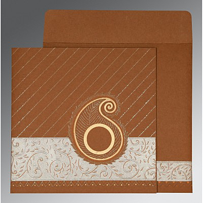 Brown Matte Embossed Wedding Card : D-1178 - 123WeddingCards