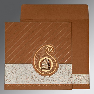 Brown Matte Embossed Wedding Card : G-1178 - 123WeddingCards