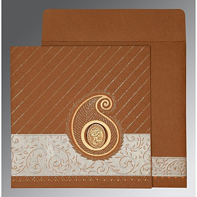 Brown Matte Embossed Wedding Card : I-1178 - 123WeddingCards