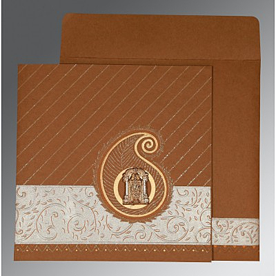 Brown Matte Embossed Wedding Invitations : SO-1178 - 123WeddingCards