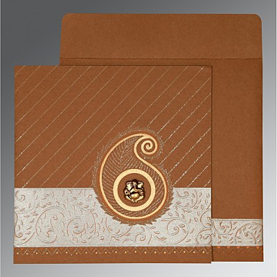 Brown Matte Embossed Wedding Card : W-1178 - 123WeddingCards