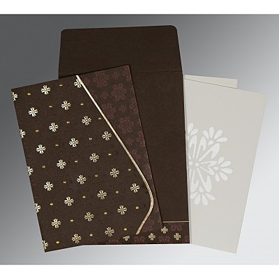 Brown Matte Floral Themed - Foil Stamped Wedding Invitation : D-8237L - 123WeddingCards