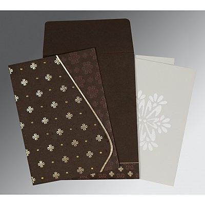 Brown Matte Floral Themed - Foil Stamped Wedding Invitation : IN-8237L - 123WeddingCards