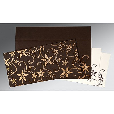 Brown Matte Floral Themed - Screen Printed Wedding Invitation : S-8225C - 123WeddingCards