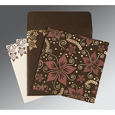 Brown Matte Floral Themed - Screen Printed Wedding Invitations : W-8240E - 123WeddingCards
