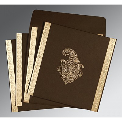 Brown Matte Paisley Themed - Embossed Wedding Invitations : IN-8231D - 123WeddingCards