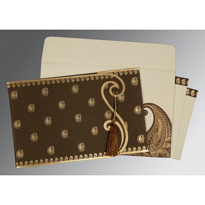 Brown Matte Paisley Themed - Screen Printed Wedding Invitation : D-8252F - 123WeddingCards