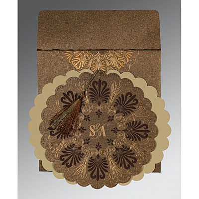 Brown Shimmery Floral Themed - Embossed Wedding Card : I-8238G - 123WeddingCards