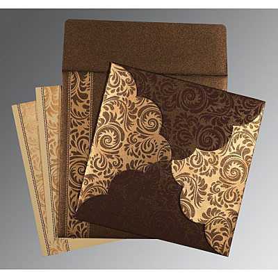 Brown Shimmery Floral Themed - Screen Printed Wedding Card : C-8235K - 123WeddingCards