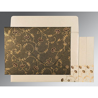 Brown Shimmery Floral Themed - Screen Printed Wedding Invitation : S-8248C - 123WeddingCards