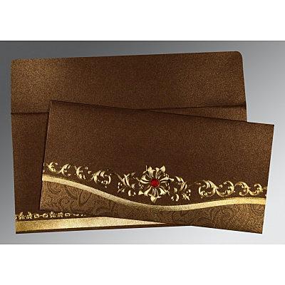 Brown Shimmery Foil Stamped Wedding Invitation : D-1499 - 123WeddingCards