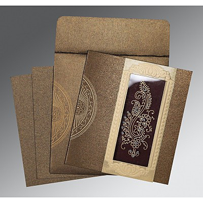 Brown Shimmery Paisley Themed - Foil Stamped Wedding Invitation : D-8230M - 123WeddingCards