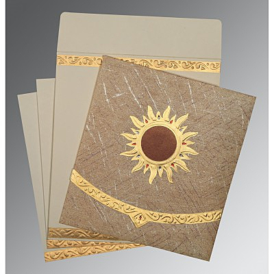 Brown Wooly Embossed Wedding Card : D-1225 - 123WeddingCards