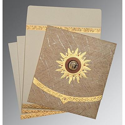 Brown Wooly Embossed Wedding Card : RU-1225 - 123WeddingCards