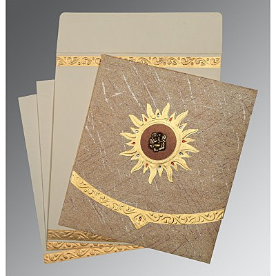 Brown Wooly Embossed Wedding Card : W-1225 - 123WeddingCards