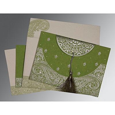 Green Handmade Cotton Embossed Wedding Invitations : S-8234C - 123WeddingCards