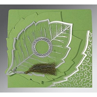 Green Handmade Cotton Floral Themed - Foil Stamped Wedding Card : CG-8219J - 123WeddingCards