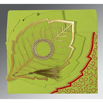 PARROT GREEN TRANSPARENT HANDMADE COTTON FLORAL THEMED - FOIL STAMPED WEDDING CARD : IN-8219A - 123WeddingCards