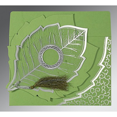 Green Handmade Cotton Floral Themed - Foil Stamped Wedding Card : W-8219J - 123WeddingCards