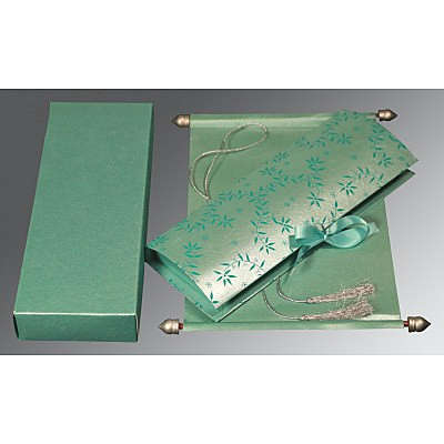 Green Handmade Shimmer Wedding Invitation : SC-5007L - 123WeddingCards