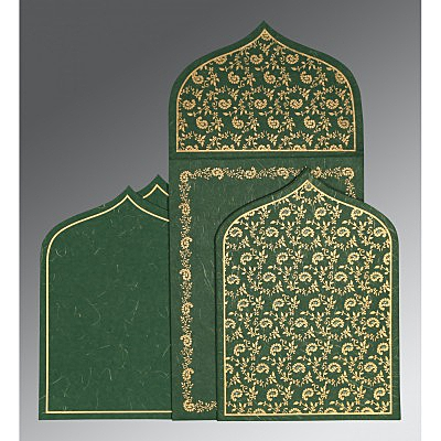 Green Handmade Silk Paisley Themed - Glitter Wedding Invitation : I-8208L - 123WeddingCards