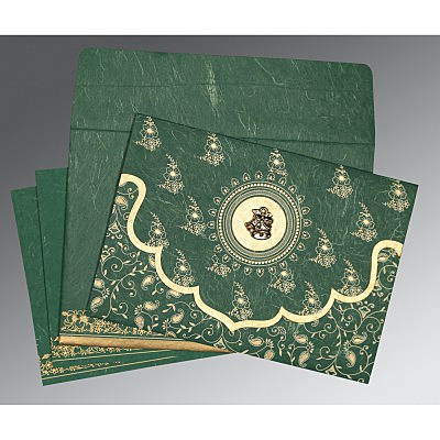 Green Handmade Silk Screen Printed Wedding Invitation : C-8207L - 123WeddingCards