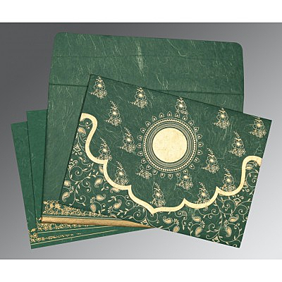 Green Handmade Silk Screen Printed Wedding Invitation : D-8207L - 123WeddingCards