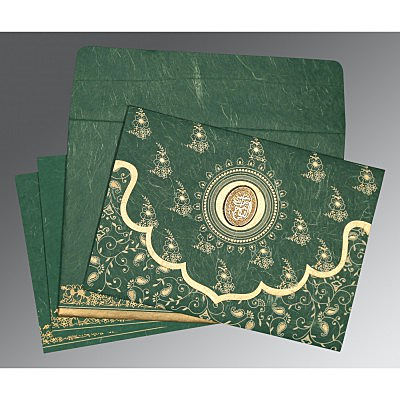 Green Handmade Silk Screen Printed Wedding Invitation : I-8207L - 123WeddingCards