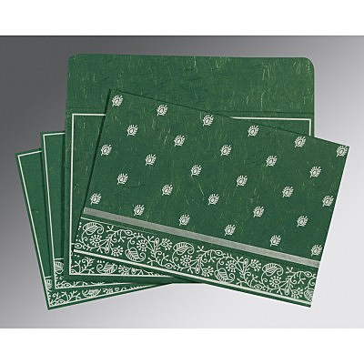 Green Handmade Silk Screen Printed Wedding Card : RU-8215E - 123WeddingCards