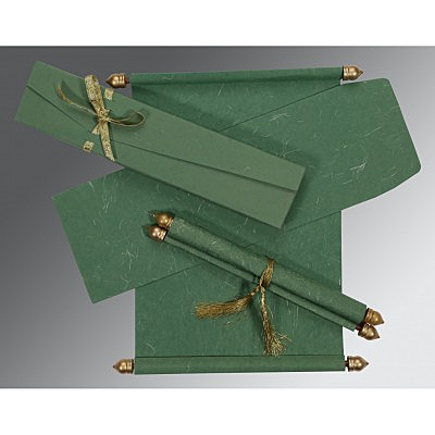 Green Handmade Silk Wedding Card : SC-5001D - 123WeddingCards
