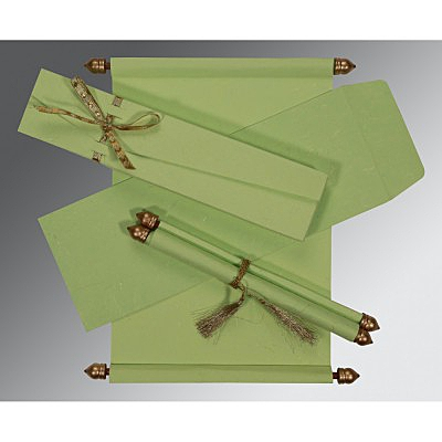 Green Handmade Silk Wedding Card : SC-5001L - 123WeddingCards