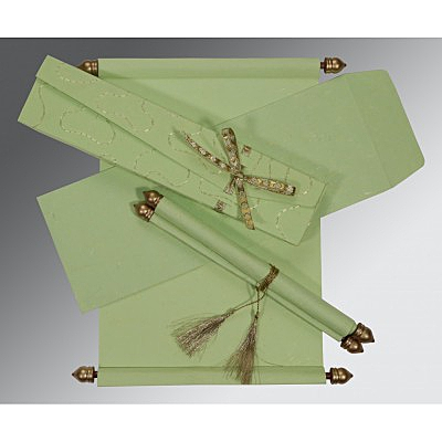 Green Handmade Silk Wedding Card : SC-5002K - 123WeddingCards