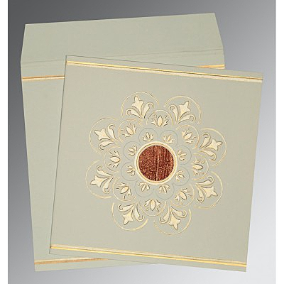 Green Matte Box Themed - Embossed Wedding Card : D-1190 - 123WeddingCards