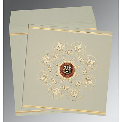 Green Matte Box Themed - Embossed Wedding Card : IN-1190 - 123WeddingCards