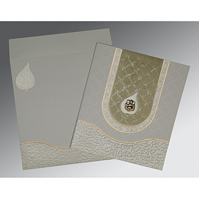 SHELL GREY MATTE EMBOSSED WEDDING INVITATION : IN-2151 - 123WeddingCards