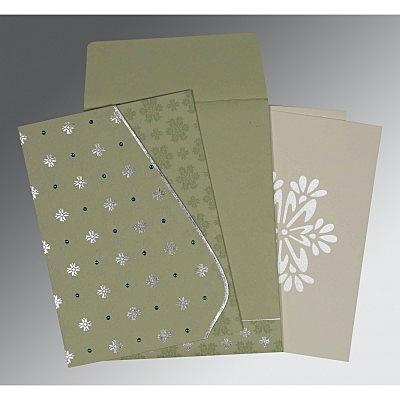 Green Matte Floral Themed - Foil Stamped Wedding Invitation : D-8237I - 123WeddingCards