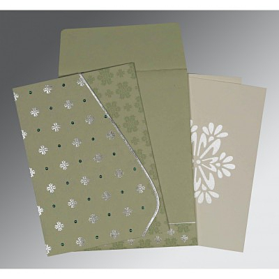 Green Matte Floral Themed - Foil Stamped Wedding Invitations : W-8237I - 123WeddingCards