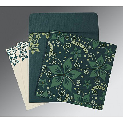 Green Matte Floral Themed - Screen Printed Wedding Invitations : D-8240N - 123WeddingCards