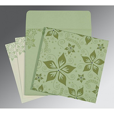 Green Matte Floral Themed - Screen Printed Wedding Invitation : RU-8240I - 123WeddingCards