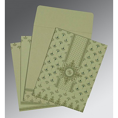 Green Matte Screen Printed Wedding Invitation : IN-8247L - 123WeddingCards