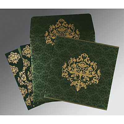 Green Shimmery Damask Themed - Screen Printed Wedding Card : IN-8254D - 123WeddingCards