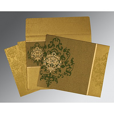 Green Shimmery Damask Themed - Screen Printed Wedding Card : RU-8253C - 123WeddingCards